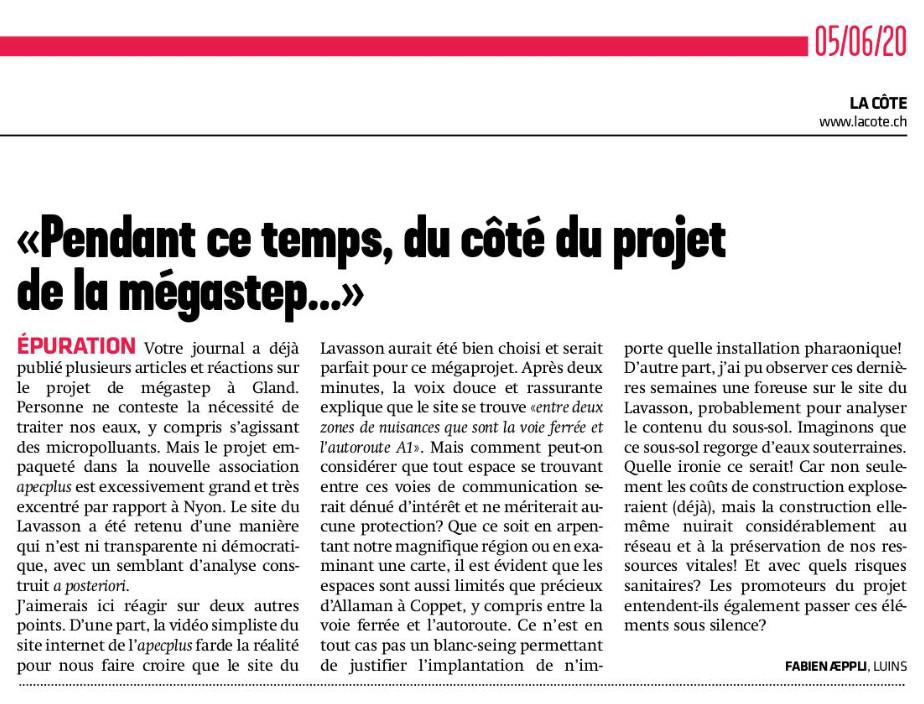Extrait du journal La Côte du 5 juin 2020.